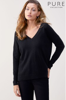 Pure Collection Cashmere Relaxed V-Neck Sweater