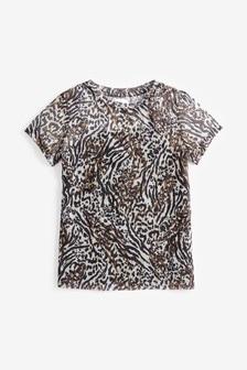 Sieťovinové tričko so zvieracím motívom (3 – 16 rok.)