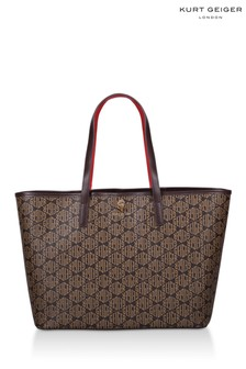 Kurt Geiger London Richmond Shopper-Tasche mit Monogramm-Print, Braun