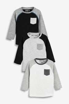 Lot de trois t-shirts confortables à manches longues (3 mois - 7 ans)