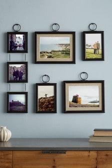 Set of 5 Black Hanging Salvage Photo Frames