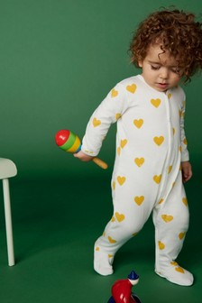 Petit Bateau White/Yellow Heart Sleepsuit