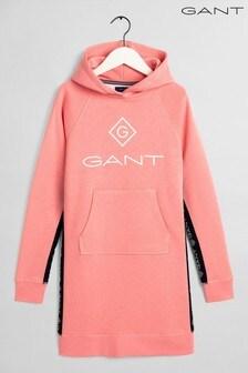 GANT Pink Lock Up Stripe Hoodie Dress
