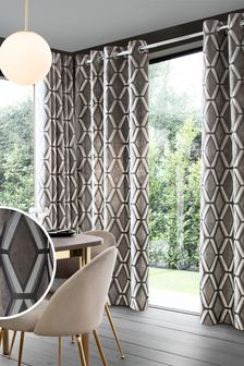 Geo Cut Velvet Collection Luxe Eyelet Curtains