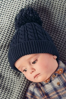Cable Pom Hat (0mths-2yrs)