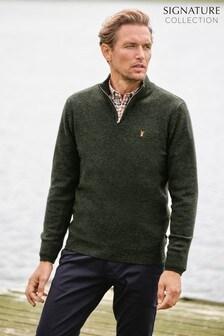 Signature Pullover aus Lammwolle mit RV-Kragen
