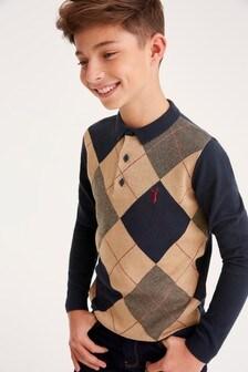 Вязаная рубашка поло с ромбами (3-16 лет)