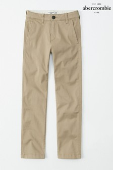 Pantalon chino Abercrombie & Fitch kaki ajusté