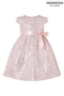 Monsoon Baby Pink Ivy Jacquard Cap Sleeve Dress