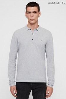 AllSaints Grey Marl Long Sleeve Reform Poloshirt