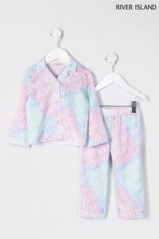 River Island Pink Tie Die Satin Pyjamas Set