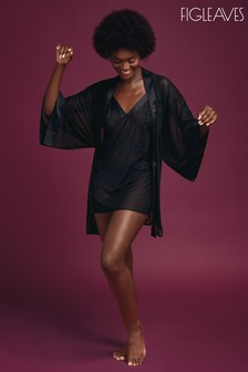 Figleaves Black Ivy Embroidered Sheer Robe