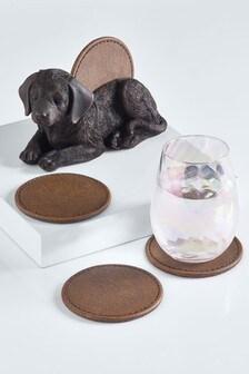 Набор из 4 подставок для чашек с собачкой и держатель