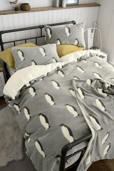 Fleece Penguin Duvet Cover And Pillowcase Set