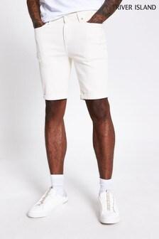 River Island Skinny-Shorts, Weiss