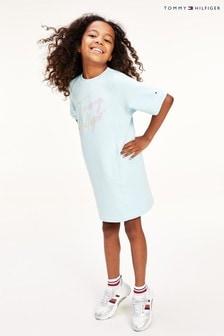 Tommy Hilfiger Sweat-Kleid mit Schriftzug, Blau