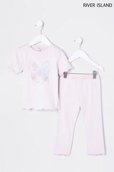 River Island Purple Light Butterfly Pyjama Set
