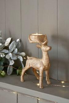Posodica za čajne svečke z motivom jelena