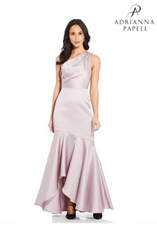 Adrianna Papell Pink Mikado Long Gown