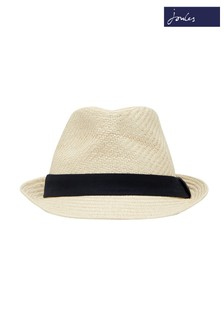 Joules Yellow Halstow Paper Structured Hat