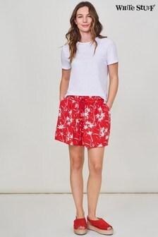 מכנסיים קצרים מאריג מקומט של White Stuff בורוד עם דקלים