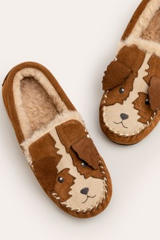 Mini Boden Brown Suede Slippers