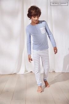 Голубая пижама с принтом в полоскуThe White Company