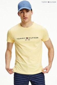 تي شيرت شعار Tommy أصفر من Tommy Hilfiger