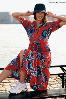 שמלה פרחונית ארוכה של Tommy Hilfiger דגם Voile באדום