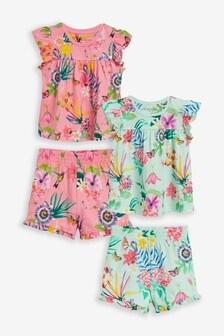 Набор из 2 пижам с шортами и цветочным принтом (9 мес. - 8 лет)