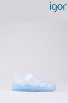 Бело-бирюзовые полупрозрачные сандалии Igor Tenis Mc