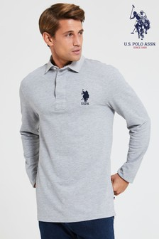 Синяя рубашка регби с длинными рукавамиU.S. Polo Assn.