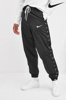 Nike Black Swoosh Woven Joggers