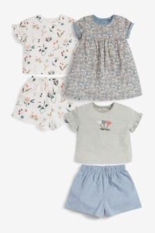 有機棉平織布服裝 5 件組 (3個月至7歲)