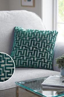 Teal Blue Fretwork Velvet Small Square Cushion