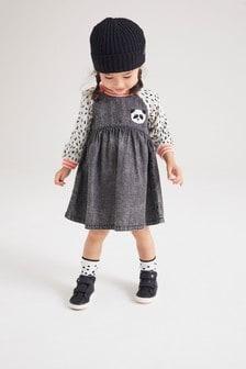 Rochie din denim cu mâneci raglan și model panda (3 luni - 7 ani)
