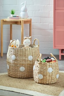 Set of 2 Rush Polka Baskets