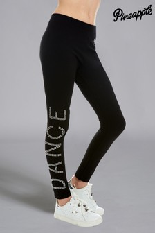Pineapple Black Dance Diamante Leggings