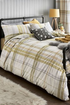 Brushed Cotton Texture Check Duvet Cover And Pillowcase Set