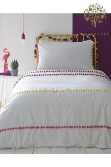 Appletree Bettbezug und Kissenbezug im Set aus Baumwolle mit Streifen und Bommelbesatz