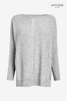 סוודר אפור עם תפרים ושרוולי עטלף דגם Studioשל Sonder