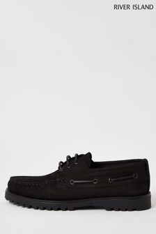 River Island Black Chunky Boat Shoes