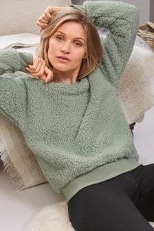 Kuscheliger Teddyfell-Pullover mit Rundhalsausschnitt