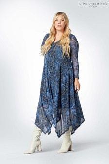 Live Unlimited Blue Cornflower Snake Mesh Dress
