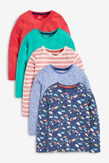 5 Pack Long Sleeve Tops (3-16yrs)