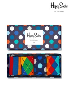 Happy Socks Navy Bright Print Socks Four Pack Gift Box