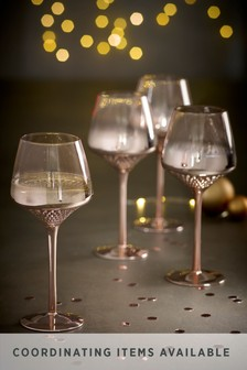 Rosa Metallic Embossed Set of 4 Wine Glasses