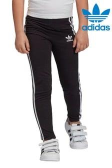 adidas Originals Little Kids黑色3條紋內搭褲