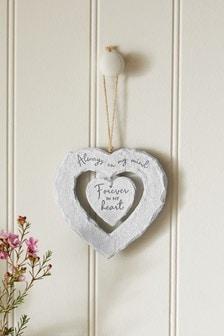 Slate Heart Hanging Decoration