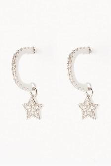 Серьги-кольца с подвесками-звездами с отделкой паве